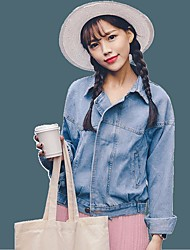 Women's Going out Simple Spring Denim Jacket,Solid Shirt Collar Regular Others