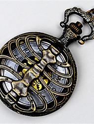 Men's Skeleton Watch Pocket Watch Quartz Alloy Band Bronze