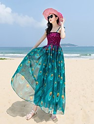 Damen Swing Kleid-Strand Blumen Gurt Maxi Ärmellos Seide Sommer Mittlere Hüfthöhe Mikro-elastisch Dünn