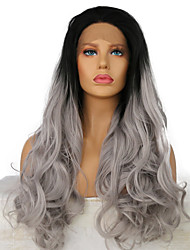 Wholesale Price #1B/Gray Two Tone Color Ombre Synthetic Lace Front Wigs for Black Women