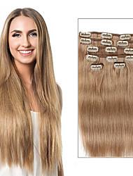 7 unid / definir a cor bege grampo 18 louro sujo louro em extensões de cabelo 14 polegadas 18 polegadas 100% cabelo humano