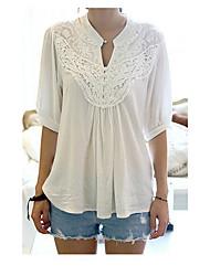 Tee-shirt Femme,Mosaïque Sortie simple Manches Courtes Col en V Polyester