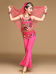 Belly Dance Outfits Kid's Performance Chiffon Spandex Tulle Coins Ruffles Sequins 4 Pieces Sleeveless Natural Top / Hip Scarf / Pants / Headpieces