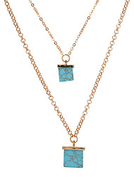 Women's Layered Necklaces Geometric Turquoise Alloy Unique Design Geometric Jewelry For Party Daily Casual 1pc
