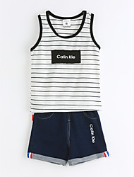 Boys' Casual/Daily Striped Sets,Cotton Summer Sleeveless Clothing Set