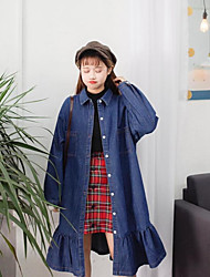 Women's Casual/Daily Denim Dress,Solid Shirt Collar Knee-length Long Sleeve Others All Seasons Low Rise Inelastic Medium