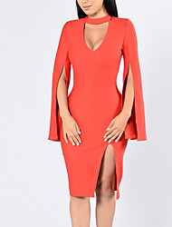 Women's Going out Party Club Sexy Simple Street chic Grace Bodycon DressSolid V Neck Knee-length Long Sleeve Split Over Hip Spring Fall High Rise