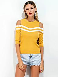 Tee-shirt Femme,Couleur Pleine Sortie Décontracté / Quotidien Vintage simple Printemps Eté ½ Manches Col Arrondi Spandex Fin