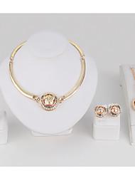 Set de Bijoux Bracelets Rigides Collier court /Ras-du-cou Cristal Circulaire Géométrique Strass Alliage Forme Ronde Or1 Collier 1 Paire