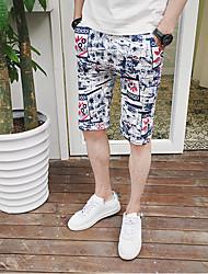 Homme simple Taille Normale Micro-élastique Short Pantalon,Ample Lettre