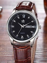 Мужской Модные часы Кварцевый Кожа Группа Коричневый