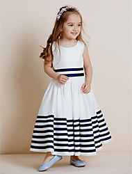 A-line Floor-length Flower Girl Dress - Taffeta Jewel with Bow(s) Sash / Ribbon