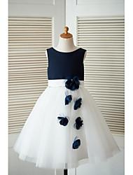 a-line платье девушки цветка длины колена - сатиновая тюль без рукавов совок с цветком от thstylee