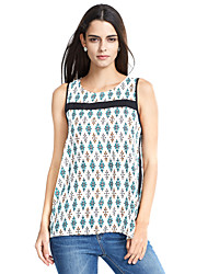 Women's Going out Simple Summer Tank Top,Geometric Round Neck Sleeveless Polyester Thin