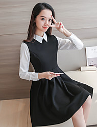 Women's Casual/Daily Simple A Line Dress,Patchwork Shirt Collar Above Knee Long Sleeve Cotton Summer Low Rise Micro-elastic Thin