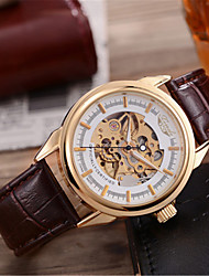 Men's Skeleton Watch Mechanical Watch Japanese Automatic self-winding Genuine Leather Band Brown Black White