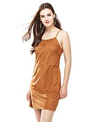 Mulheres Bandagem Vestido,Bandagem Sensual Sólido Com Alças Mini Sem Manga Amarelo Poliéster Verão