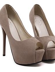 Damen-High Heels-Lässig-PUFersenriemen-Schwarz Mandelfarben