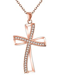 Women's Pendant Necklaces Chain Necklaces AAA Cubic Zirconia Cross Geometric Zircon Copper Gold Plated Rose Gold Plated Basic Unique