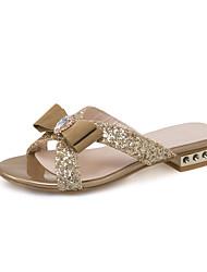 Золотой Черный-Для женщин-Для праздника Повседневный-Дерматин-На толстом каблуке-Удобная обувь-Сандалии