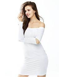 Feminino Bandagem Vestido,Casual / Bandagem Sensual / Simples Sólido Decote Canoa Mini Manga Longa Branco / Preto PoliésterPrimavera /