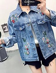 Feminino Jaqueta jeans Casual Moda de Rua Primavera Outono,Floral Padrão Others Colarinho de Camisa Manga Longa Taxas