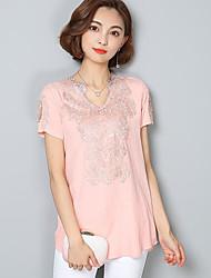 Damen Solide Niedlich Ausgehen T-shirt,V-Ausschnitt Kurzarm Baumwolle