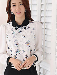 Women's Going out Simple Blouse,Floral Shirt Collar Long Sleeve Nylon Spandex