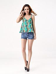 Women's Beach Holiday Sexy Cute Street chic Tank Top,Print Strap Sleeveless Polyester