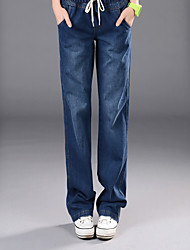 Women's Mid Rise Inelastic Jeans Pants,Simple Loose Solid