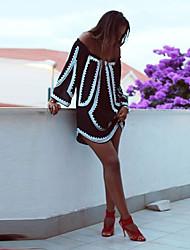 Tunique Robe Femme Sortie Soirée / Cocktail Vacances Sexy simple Mignon,Couleur Pleine Epaules Dénudées Au dessus du genou Manches Longues