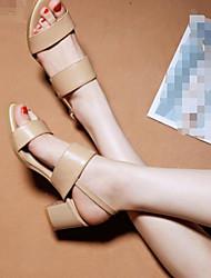 Damen-High Heels-Lässig-PU-Blockabsatz-Fersenriemen-Weiß Schwarz Rot