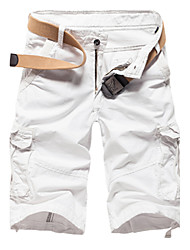 Men's Mid Rise Micro-elastic Shorts Pants,Vintage Simple Street chic Straight Solid