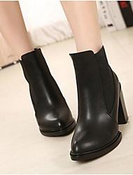 Women's Boots Comfort PU Spring Casual Stiletto Heel Black 4in-4 3/4in