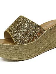 Women's Sandals Comfort PU Summer Outdoor Comfort Wedge Heel Gold Black Silver 5in & over