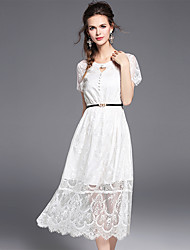 Women's Going out Party Holiday Sexy Cute Street chic Lace Dress,Solid Round Neck Above Knee Short Sleeve Nylon Spandex Summer Mid Rise