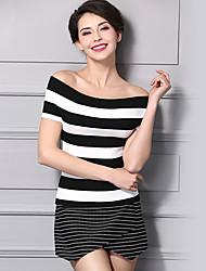 Mujer Regular Pullover Casual/Diario Simple,Un Color Escote Barco Sin Mangas Acrílico Verano Medio Elástico