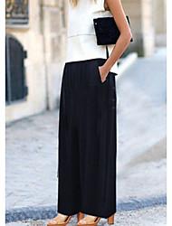 Mujer Boho Chic de Calle Tiro Medio Eslático Chinos Pantalones,Perneras anchas Un Color