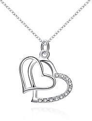 Mulheres Colares com Pendentes Imitação de Diamante Formato de Coração Prata Chapeada Coração Jóias ParaCasamento Festa Ocasião Especial