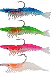 """4 pcs Soft Bait Fishing Lures Soft Bait Green Orange Pink Royal Blue g/Ounce mm/4"""" inch,Silicon Carbon steelSea Fishing Bait Casting Ice"""