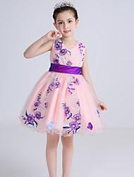 De Baile Curto/Mini Vestido para Meninas das Flores - Algodão Cetim Tule Decote V com Laço(s) Bordado Faixa / Fita