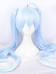 Pelucas de Cosplay Vocaloid Snow Miku Largo Videojuegos de anime Pelucas de Cosplay 110 CM Fibra resistente al calor