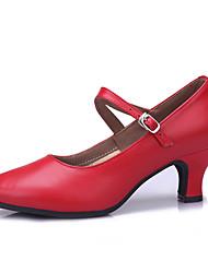 Women's Dance Shoes Leatherette Leatherette Latin Sandals Low Heel Practice Beginner Professional Indoor PerformanceDark