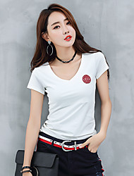 Damen Solide Einfach Ausgehen T-shirt,V-Ausschnitt Kurzarm Baumwolle
