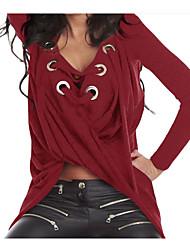 T-shirt Da donna Casual SempliceTinta unita Rotonda Cotone Manica lunga