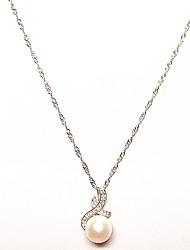 Femme Pendentif de collier Perle Argent sterling Original Pendant Bijoux Pour Anniversaire Quotidien Regalos de Navidad 1 Set