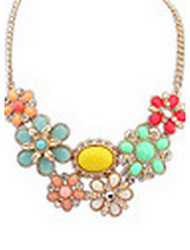 Women's Statement Necklaces Jewelry Jewelry Gem Alloy Euramerican Fashion Light Green Blushing Pink Rainbow Jewelry ForParty Special