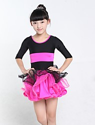 Latin Dance Dresses Kid's Performance Spandex Tulle 1 Piece Half Sleeve Natural Dress