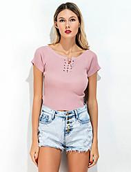 Tee-shirt Femme,Couleur Pleine Sortie Décontracté / Quotidien Vintage simple Eté Manches Courtes Col Ras du Cou Spandex Fin