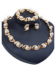 Women's Jewelry Set Imitation Pearl Euramerican Resin Chrome Rhinestones Circle ForWedding Party Special Occasion Halloween Anniversary